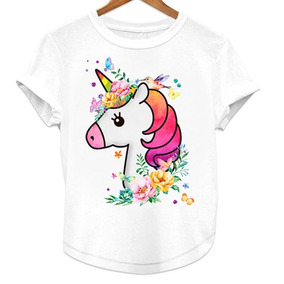 Playera Unicornio Colores Flores Blusa Niña
