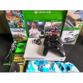 Xbox One S 500gb Branco 2 Controles + Jogos + Brindes Barato