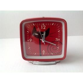 Reloj Despertador Metálico Gato Cuarzo Funcionando