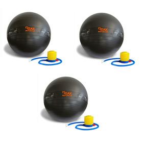 Kit 3 Bolas Pilates 55 Cm, 65 Cm E 75 Cm Bomba Grátis Reax