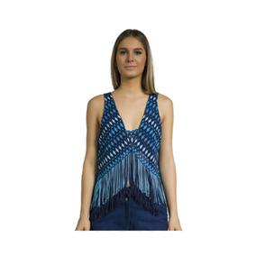 Blusa Paula Com Franjas Azul Iódice Tamanho P