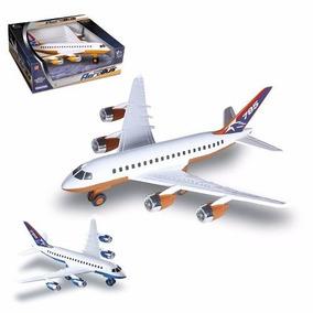 Avião Brinquedo Miniatura Azul Ou Laranja - Plástico Simples