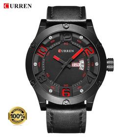 Relógio Masculino Curren 8251 Preto/vermelho Nf+brinde
