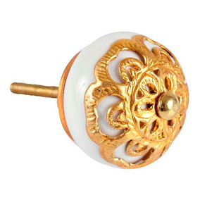 2 X Puxador Cerâmica Dourado Móveis Gavetas Portas 50mm