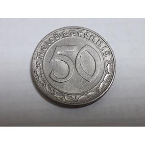 Alemanha Nazista 50 Reichspfennig 1938d, Nickel.