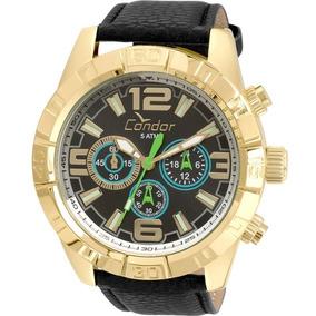 Relógio Condor Masculino Dourado Pulseira Preta Covd54as/2p
