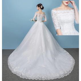 Vestido De Noiva Nb81 Renda Delicada Cauda Veu Barato