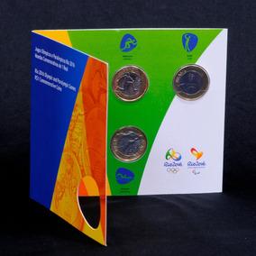 Moedas Olimpíacas 2016 - 1° Conjunto - Cartela Com 4 Moedas