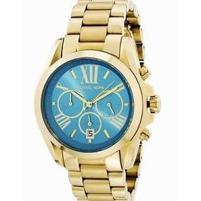 Relógio Michael Kors Mk5975 Bradshaw Dourado Azul Original 20fed2f932