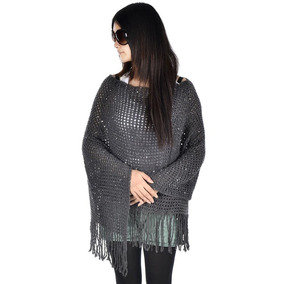 Charcoal - Mujeres? S Poncho Suelta Del Cabo Suéter Hec-2515
