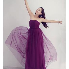 Vestido morado uva largo