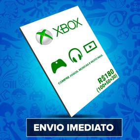 Cartão Microsoft Xbox Brasil R$180 (r$100+r$50+r$30) Reais