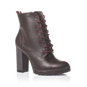 1a0485663 Bota Ramarim Marrom Com Drapeado Ankle Boots - Sapatos no Mercado ...