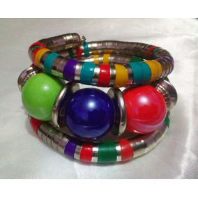 Pulsera Boho Nepal Plata Tibetana Gemas Esferas Coloridas
