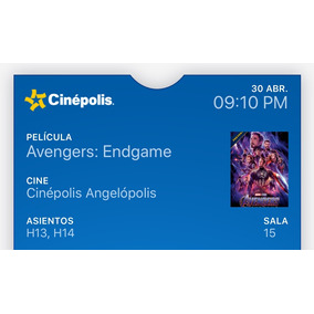 Avengers: Endgame Puebla Imax 3d Idioma Original, 2 Boletos