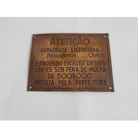 Antiga Placa De Elevador Anos 40 Em Bronze De 500$000