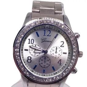 11663c58c7b Relogio Feminino Geneva Prata Com - Joias e Relógios no Mercado ...