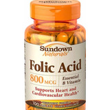 Ácido Fólico Vitamina B9 Sundown 800mcg 100tablets Importado