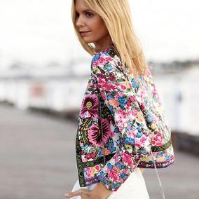 Chaqueta Kimono Cardigan Floral Satén Impreso Blusa Top