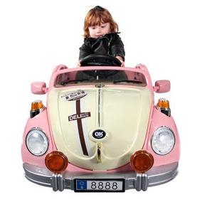 Carrinho Fusca Elétrico Rosa Infantil Com Controle Remoto
