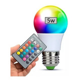 Lampara Led Rgb 5w E27 220v Control Remoto 16 Colores.