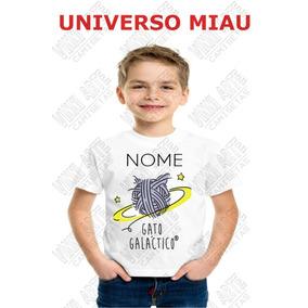 Camiseta Personalizada Infantil Gato Galactico Universo Miau