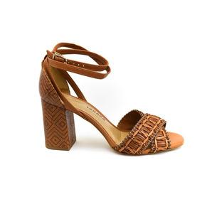 Sandália Tanara T0501 Caramelo Dourado Islen Calçados