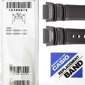 Pulseira Casio 100% Original Resina Preta Sgw-300h Sgw-400h