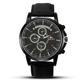 Relógio Soxy Masculino De Couro Marron Luxo Compre Já