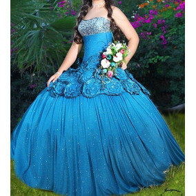 Vestido de xv azul metalico