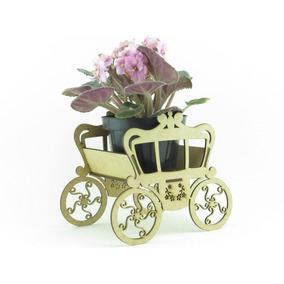 20 Carruagens Floral 15cm Violeta Mdf Cru Lembrancinha Festa