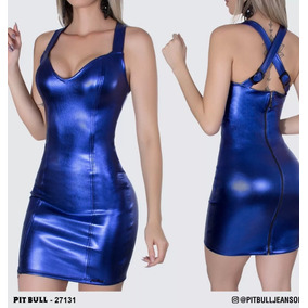 Vestido Azul Metálico Pitbull-g. Lindissimo!!!