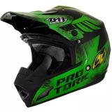 Capacete Motocross Th1 Insane 5 Pro Tork Preto/ Verde
