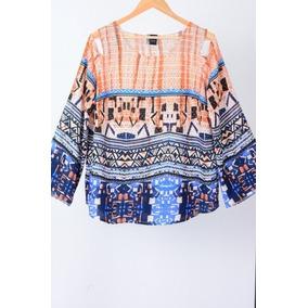 Blusa Plus Size Azul Basics Collection