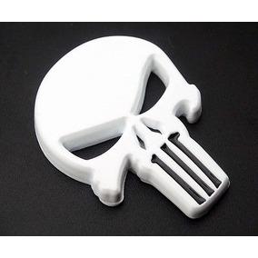 Justiceiro Adesivo 3d Moto Punisher Emblema Metal Branco