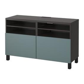Banco De Tv Ikea Con Puertas, Negro-marrón, Valviken Gris-tu