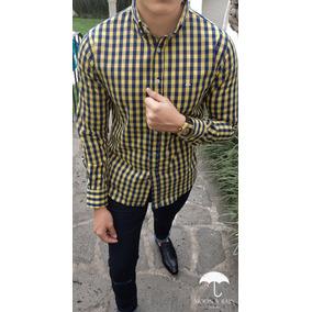 Camisa Slim Fit Cuadros Amarillos Y Marino Moon & Rain Tp