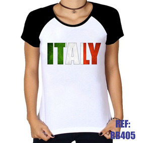 Camiseta Bandeira Italia - Camisetas e Blusas para Feminino no ... 4592de4557116