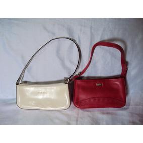 Kit De 2 Bolsas De Couro Vermelha E Bege Feminina