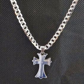 Crucifixo Cruz Em Aço Prata Colar Grande + Frete Grátis