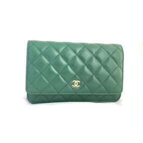 Bolsa Chanel Woc Verde Couro Lambskin Metais Dourados