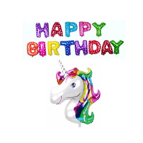 Globo Metalico Happy Birthday Mas Unicornio Gigante 110 Cm