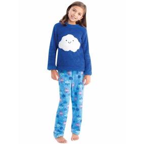 45279 Pijama Niña Fleece Ilusion Azul Calientita Pantalon