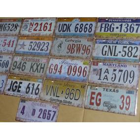 Coleção 17 Placas Carro Metal Em Alusão Estados Americanos