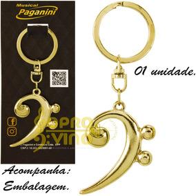Chaveiro Clave Musical Fa Metal Dourado Paganini