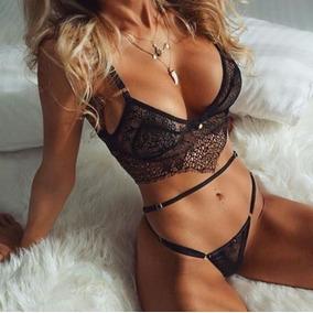 Coordinado Negro De Encaje Sexy Bralette