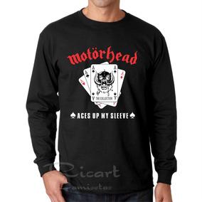 Camiseta Manga Longa Motorhead Aces Up My Sleeve Banda Rock 31616f0a5c314