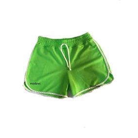 Kit Com 5 Shorts Neon Feminino Crepe Com Cadarço P M G Gg