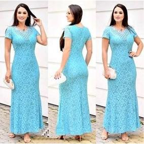 Vestidos Evangélicos Plus Size Longo Renda Forrado Pérolas
