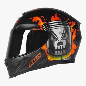 Capacete Moto Axxis Piston Preto Laranja Fosco